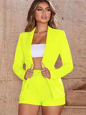 cheap Women's Blouses & Shirts-Women's Set Long Solid Colored Pant Shirt Collar