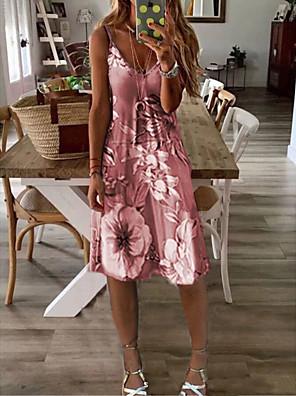 cheap Summer Dresses-Women's Sundress Knee Length Dress - Sleeveless Floral Print Summer V Neck Sexy Holiday Vacation 2020 Wine Purple Yellow Gray S M L XL XXL XXXL