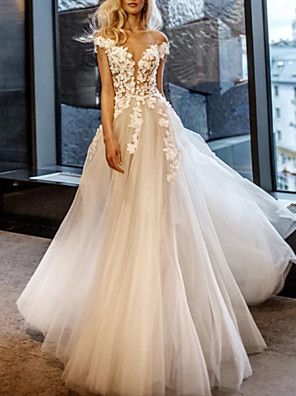 cheap Wedding Dresses-A-Line Wedding Dresses Off Shoulder Sweep / Brush Train Lace Tulle Short Sleeve Vintage Sexy Wedding Dress in Color See-Through with Embroidery Appliques 2020