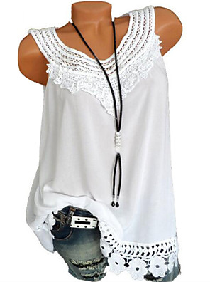cheap Mini Dresses-Women's Plus Size Geometric Solid Colored Lace Loose Tank Top Basic Daily Wine / White / Black / Blue / Purple / Blushing Pink / Army Green / Light Blue