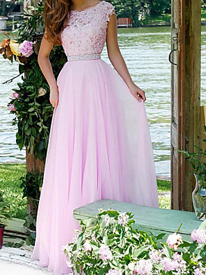 cheap Evening Dresses-A-Line Elegant Pink Engagement Formal Evening Dress Jewel Neck Sleeveless Floor Length Chiffon Lace with Pleats Appliques 2020