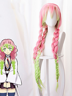 cheap Party Dresses-Demon Slayer: Kimetsu no Yaiba Kanroji Mitsuri Cosplay Wigs Women's Braid 40 inch Heat Resistant Fiber Plaited Pink Pink Anime