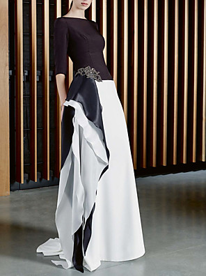cheap Evening Dresses-A-Line Mother of the Bride Dress Elegant Jewel Neck Sweep / Brush Train Satin Half Sleeve with Beading 2020