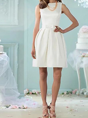cheap Free Shipping-A-Line Wedding Dresses Jewel Neck Knee Length Cotton Sleeveless Vintage Little White Dress with Bow(s) 2020