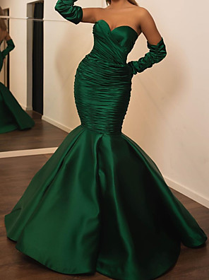 cheap Evening Dresses-Mermaid / Trumpet Elegant Green Engagement Formal Evening Dress Sweetheart Neckline Long Sleeve Floor Length Satin with Ruched 2020
