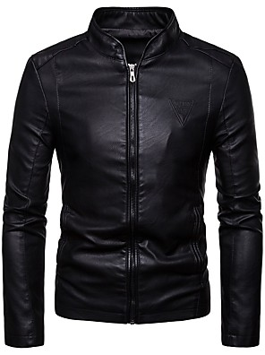 cheap Men's Jackets & Coats-Men's Party / Daily Basic Spring Regular Jacket, Solid Colored Stand Long Sleeve PU Wine / Brown / Black