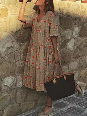 cheap Summer Dresses-Women's A Line Dress - Short Sleeves Floral Summer Elegant 2020 Purple Khaki Light Green Gray Light Blue S M L XL XXL XXXL XXXXL XXXXXL