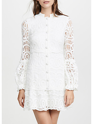 cheap Evening Dresses-Sheath / Column Cut Out White Party Wear Cocktail Party Dress Jewel Neck Long Sleeve Short / Mini Lace with Lace Insert 2020