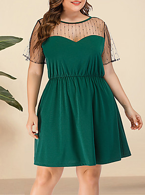 cheap Plus Size Dresses-Women's Plus Size A Line Dress - Short Sleeves Solid Color Lace Mesh Summer V Neck Casual Street chic Daily Going out Belt Not Included Loose 2020 Green L XL XXL XXXL XXXXL