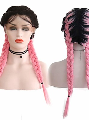cheap Plus Size Swimwear-Synthetic Lace Front Wig Box Braids Middle Part with Baby Hair Lace Front Wig Pink Ombre Long Ombre Pink Synthetic Hair 18-26 inch Women's Soft Adjustable Party Pink Ombre
