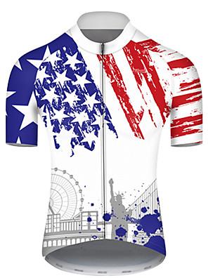 povoljno Biciklističke majice-21Grams Muškarci Kratkih rukava Biciklistička majica Najlon Poliester Blue / Bijela American / USA Kip slobode Državne zastave Bicikl Biciklistička majica Majice Brdski biciklizam biciklom na cesti