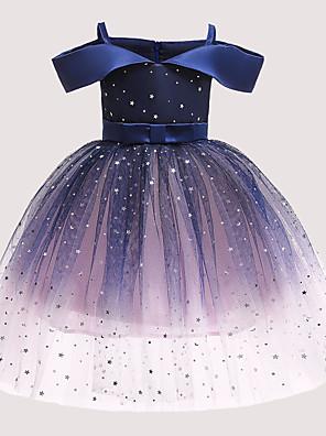 cheap Print Dresses-Kids Girls' Active Cute Polka Dot Galaxy Sequins Bow Pleated Sleeveless Knee-length Dress Blue