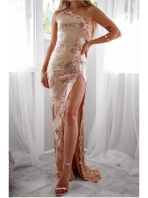 cheap Cocktail Dresses-Sheath / Column One Shoulder Floor Length Stretch Satin / Sequined Bridesmaid Dress with Sequin / Split Front / Open Back