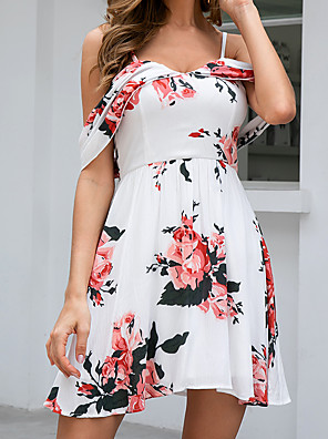cheap Mini Dresses-Women's A-Line Dress Tropical Leaf Short Mini Dress - Sleeveless Floral Zipper Summer Elegant Boho Daily Weekend 2020 White S M L