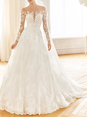 cheap Wedding Dresses-A-Line Wedding Dresses Jewel Neck Sweep / Brush Train Lace Tulle Long Sleeve Vintage Sexy Wedding Dress in Color See-Through with Embroidery Appliques 2020