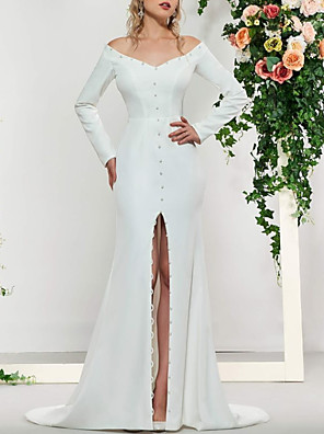 cheap Evening Dresses-A-Line Wedding Dresses Off Shoulder Sweep / Brush Train Stretch Satin Long Sleeve Simple with Beading Split Front 2020
