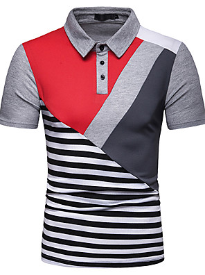 cheap Men's Pants & Shorts-Men's Color Block Check Patchwork Print Polo Basic Chinoiserie Holiday Going out White / Black / Gray / Short Sleeve