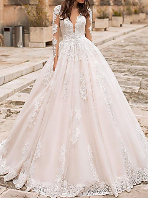 cheap Special Occasion Dresses-A-Line Wedding Dresses V Neck Court Train Lace Tulle Short Sleeve Vintage Sexy Wedding Dress in Color Backless with Embroidery Appliques 2020