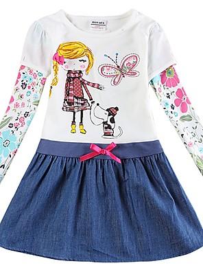 cheap Girls' Dresses-Kids Toddler Girls' Sweet Cute Butterfly Dog Plants Cartoon Tribal Embroidered Long Sleeve Knee-length Dress White