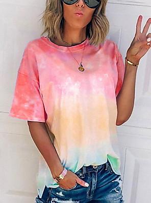 cheap Women's T-shirts-Women's T-shirt Tie Dye Tops Casual Wine Blue Purple