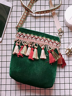 cheap Plus Size Swimwear-Women's Bags Corduroy Crossbody Bag Tassel for Daily Green