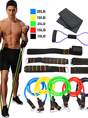 cheap Evening Dresses-Resistance Band Set 12 pcs 5 Stackable Exercise Bands Door Anchor Legs Ankle Straps Sports TPE Home Workout Pilates Fitness Heavy-duty Carabiner Strength Training Muscular Bodyweight Training Muscle