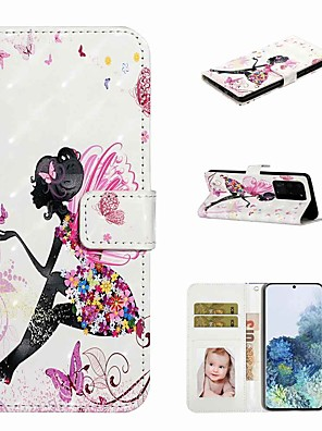 رخيصةأون إكسسوارات سامسونج-غطاء من أجل Samsung Galaxy s20 / galaxy s20 plus / galaxy s20 ultra wallet / holder card / with stand full body cases butterfly girl pu leather / tpu for galaxy a51 / a71 / a80 / a70 / a50 / a30s /