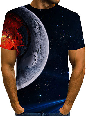 cheap Men's Tees & Tank Tops-Men's 3D Graphic Space T-shirt Basic Exaggerated Daily Round Neck Blue / Purple / Red / Yellow / Green / Short Sleeve