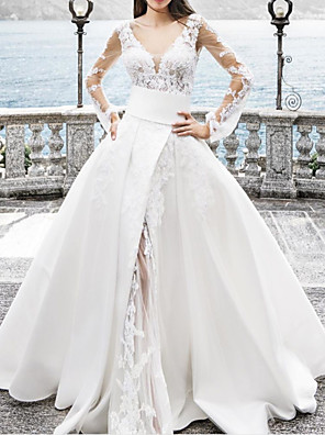 cheap Wedding Dresses-A-Line Wedding Dresses Jewel Neck Floor Length Lace Chiffon Over Satin Long Sleeve Sexy See-Through with Sashes / Ribbons Embroidery Split Front 2020