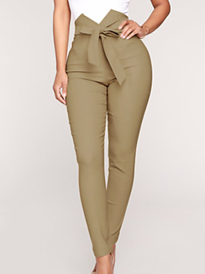cheap Summer Dresses-Women's Basic Loose Chinos Pants - Solid Colored Black Khaki S / M / L
