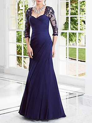 cheap Evening Dresses-Sheath / Column Elegant Cut Out Engagement Formal Evening Dress Scoop Neck 3/4 Length Sleeve Floor Length Chiffon with Pleats Appliques 2020