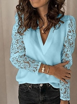 cheap Women's Blouses & Shirts-Women's Blouse Solid Colored Tops V Neck White Black Blue
