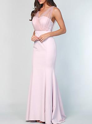 cheap Evening Dresses-Sheath / Column V Neck Sweep / Brush Train Chiffon Bridesmaid Dress with Pleats