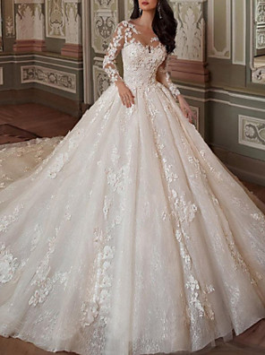 cheap Wedding Dresses-Ball Gown A-Line Wedding Dresses Jewel Neck Chapel Train Lace Tulle Long Sleeve Vintage Sexy See-Through Backless with Embroidery Appliques 2020
