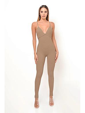 cheap Socks & Hosiery-Women's Basic Deep V Khaki Gray Jumpsuit Solid Colored Backless / Pencil