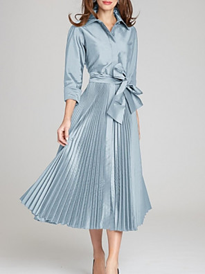 cheap Mother of the Bride Dresses-A-Line Mother of the Bride Dress Elegant Shirt Collar Tea Length Satin 3/4 Length Sleeve with Bow(s) Pleats 2020