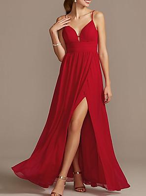 cheap Evening Dresses-Sheath / Column Elegant Holiday Prom Dress Spaghetti Strap Sleeveless Floor Length Satin with Pleats Split 2020