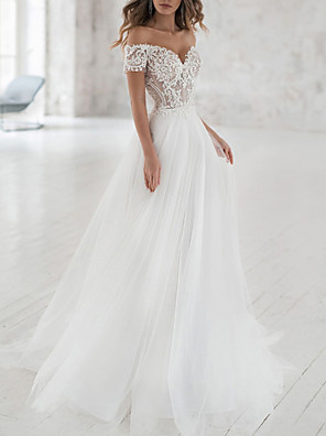 cheap Wedding Dresses-A-Line Wedding Dresses Off Shoulder Sweep / Brush Train Lace Tulle Short Sleeve Beach Boho Sexy See-Through with Embroidery 2020