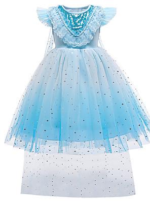 cheap Flower Girl Dresses-Kids Toddler Girls' Sweet Cute Blue Solid Colored Snowflake Sequins Mesh Sleeveless Knee-length Dress Blue