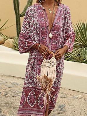 cheap Summer Dresses-Women's A-Line Dress Midi Dress - 3/4 Length Sleeve Geometric Summer V Neck Bohemian Boho 2020 Blue Blushing Pink Beige Light Blue S M L XL XXL XXXL XXXXL XXXXXL