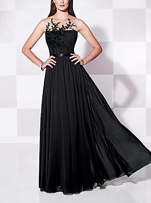 cheap Evening Dresses-A-Line Elegant Floral Engagement Formal Evening Dress Illusion Neck Sleeveless Floor Length Chiffon with Pleats Appliques 2020