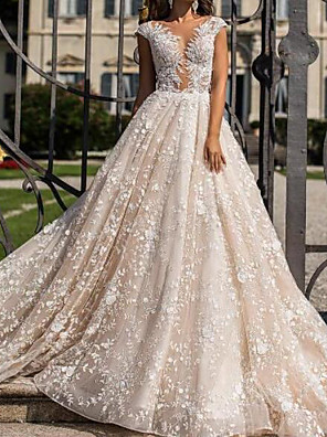 cheap Plus Size Dresses-A-Line Wedding Dresses Jewel Neck Sweep / Brush Train Lace Tulle Sleeveless Sexy See-Through with Crystals Embroidery 2020