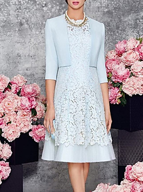 cheap Mother of the Bride Dresses-Two Piece Sheath / Column Mother of the Bride Dress Elegant Jewel Neck Knee Length Lace Satin 3/4 Length Sleeve with Appliques 2020