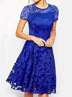 cheap Prom Dresses-Women's Plus Size A Line Dress - Short Sleeve Floral Solid Colored Lace Elegant Going out White Black Blue Red S M L XL XXL XXXL