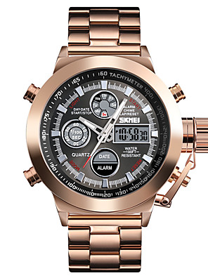 cheap Sport Watches-SKMEI Men's Steel Band Watches Digital Modern Style Sporty Outdoor Military Stainless Steel Black / Silver / Rose Gold Analog - Digital - Golden / Brown Black Silver One Year Battery Life