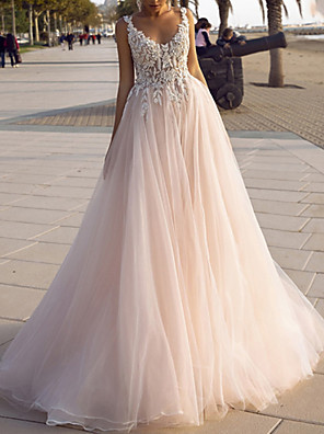 cheap Wedding Dresses-A-Line Wedding Dresses V Neck Spaghetti Strap Sweep / Brush Train Lace Tulle Sleeveless Beach Sexy Backless with Embroidery Appliques 2020