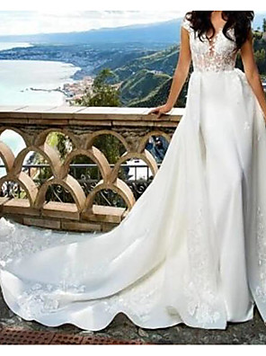 cheap Evening Dresses-A-Line Wedding Dresses Jewel Neck Court Train Lace Satin Sleeveless Sexy See-Through with Embroidery 2020