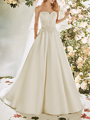 cheap Evening Dresses-A-Line Wedding Dresses Strapless Sweep / Brush Train Lace Satin Sleeveless Vintage Sexy Wedding Dress in Color Backless with Pleats Embroidery Appliques 2020