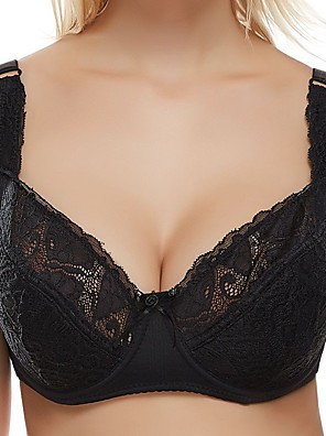 cheap Bras-Women's Lace Bras Underwire Bra Full Coverage Bra White Black Red