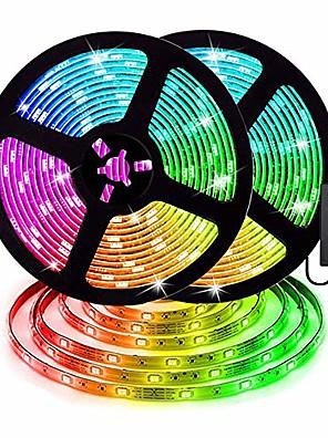 cheap Girls' Dresses-ZDM 2 x 5 m Waterproof LED Light Strips RGB Tiktok Lights 5050 SMD 10mm Light Sets 300 LEDs with 44Key IR Controller 70W 12V6A Power Supply Soft Light Strip Kit